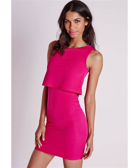 Pink Layered Dress missguided layered bodycon dress pink in pink lyst