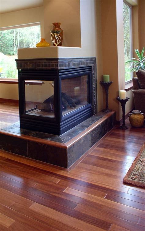 transitional peninsula fireplace design  interior