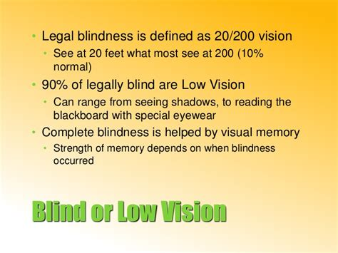 Legal Blindness Disability 652 Visual Impairment Presentation 2