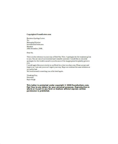 Apology Letter To Customer Hotel Apology Letter Exles