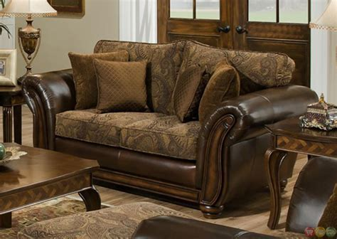 Chenille And Leather Sofa Zephyr Chenille And Leather Living Room Sofa Loveseat Set