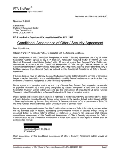 Conditional Acceptance Letter Meaning conditional acceptance offer exle