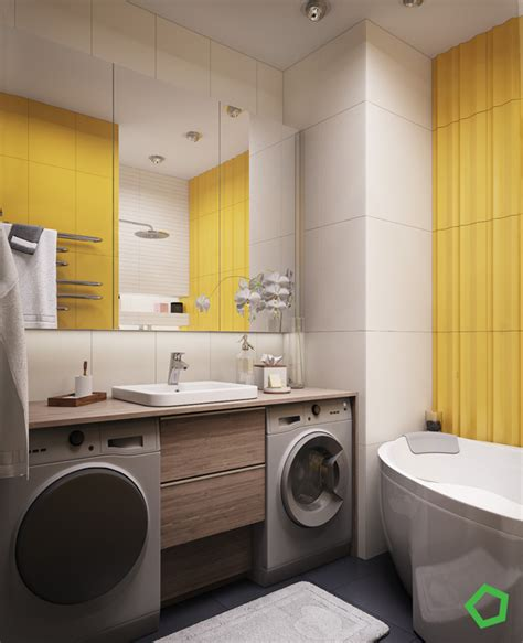 laundry design for apartments modern yellow accent apartment for young family home