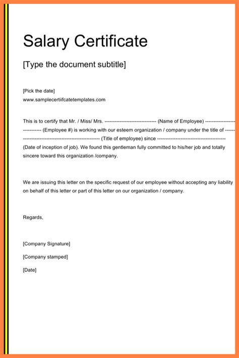 certify letter for salary 4 salary certificate format in word free salary slip