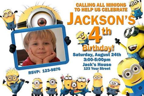 minion thank you card template free 20 despicable me minions birthday invitation with photo