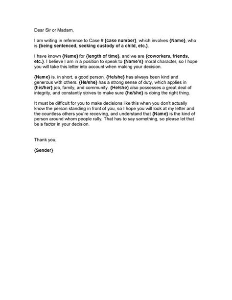 Letter Of Recommendation Character Traits character letter for judge character reference letter