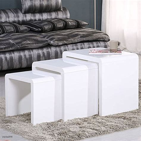 white side tables for living room schindora 174 high gloss nest of coffee table side table