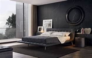 modern bedroom with black wall and bed poliform ondag furniture sets