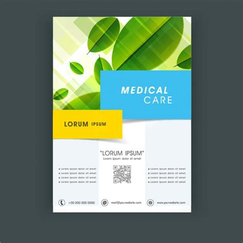 nature brochure template vector premium download medical care flyer template with leaves vector premium