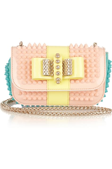 christian louboutin sweet charity studded patent leather shoulder bag in pink lyst