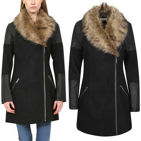 new pu wool biker coat womens fur collar