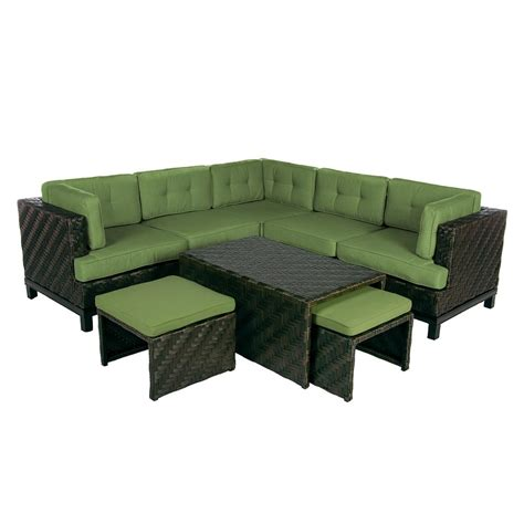 outdoor wicker sectional hanover strathmere 6 piece deep wicker patio seating set