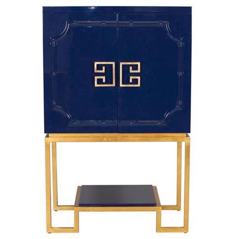 Gold Bar Cabinet Bombay Regency Navy Blue Lacquer Gold Bar Cabinet