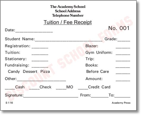 fee receipt template tuition fee receipt school forms