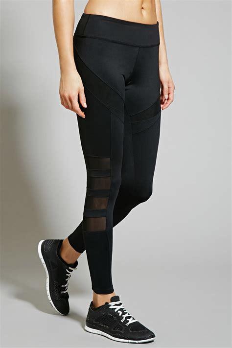 Celana Legging Forever 21 lyst forever 21 active mesh paneled in black