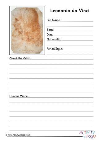 leonardo da vinci biography worksheet leonardo da vinci factsheet