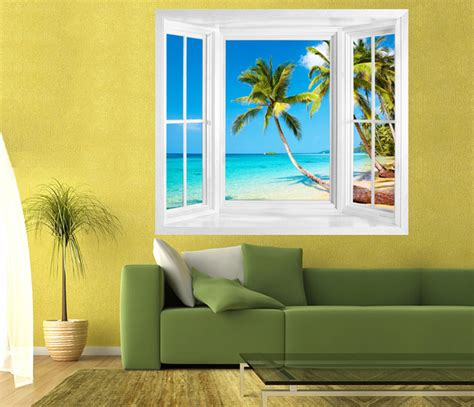 window wall stickers tropical view of kood island thailand window frame wall sticker tropical wall decals