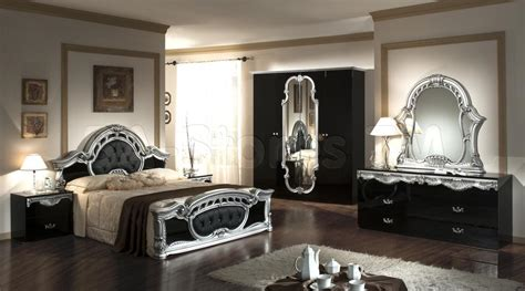 Mirror Bedroom Furniture Cheap Cheap Mirrored Bedroom Furniturerococo Pc Italian Classic Black Silver Bedroom Set Vkmcrn