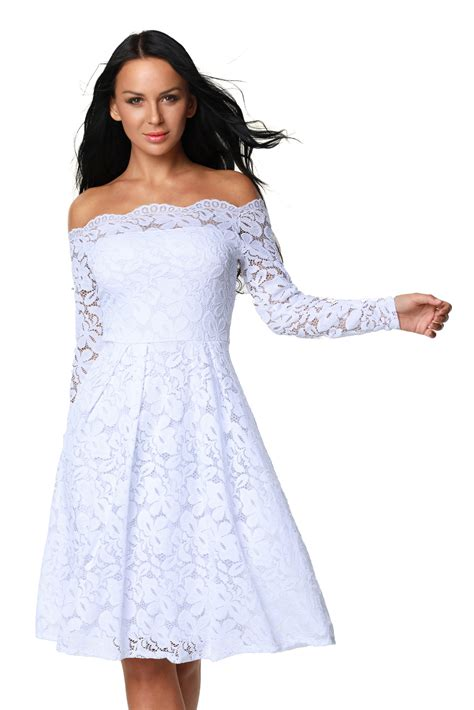 white long sleeve swing dress white long sleeve floral lace boat neck cocktail swing dress
