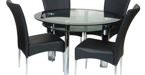 Boat Dining Table And Chairs Boat Fixed 110cm Clear Black Glass Dining Table 4 Black Chairs Dining Room Furniture