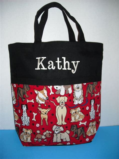 personalized tote bag cute dogs print  monogram ebay