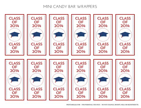 free printable graduation bar wrappers templates free 2014 graduation printables from printabelle