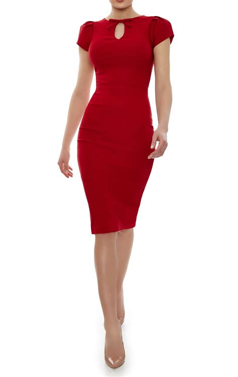 paloma red dress red bodycon dress knee length neck