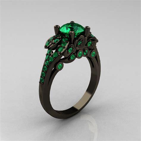 classic 14k black gold 1 0 ct emerald blazer wedding ring