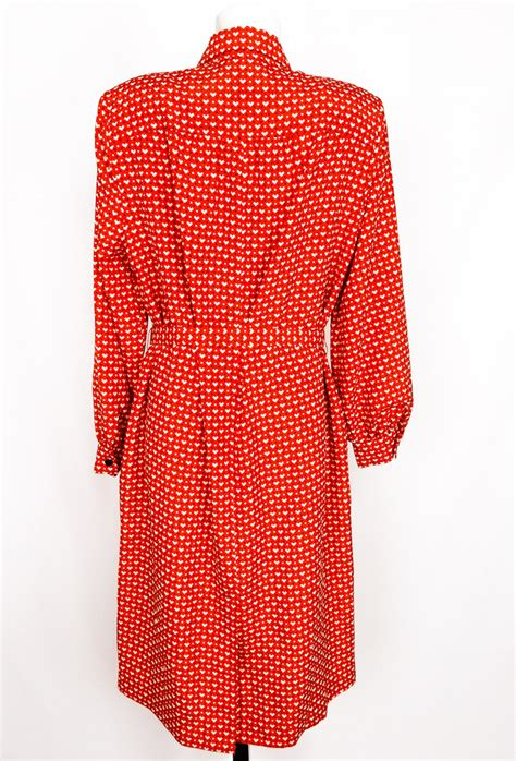 heart pattern clothing vintage red white heart pattern dress the magic bus
