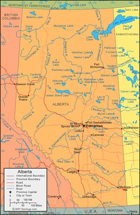 canadian lakes and rivers map alberta map satellite image roads lakes rivers cities