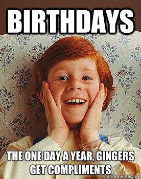 Ginger Memes - birthdays the one day a year gingers get compliments