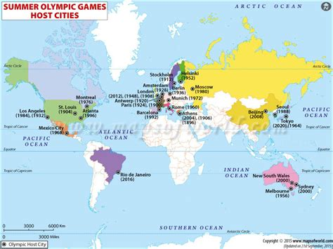 world map olympic host cities summer olympics 2020
