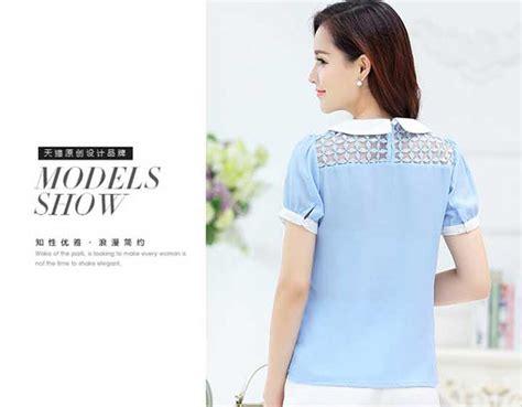 Atasan Lengan Pendek Blouse Model 2 Pcs blus atasan wanita korea lengan pendek sifon gauze b2834