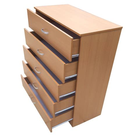 Beech Chest Drawers by Chest Of 5 Drawers With Anti Bowing Technology Beech Home Treats Uk