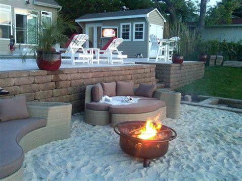 beach backyard ideas cool sand around fire pit at the beach backyard project