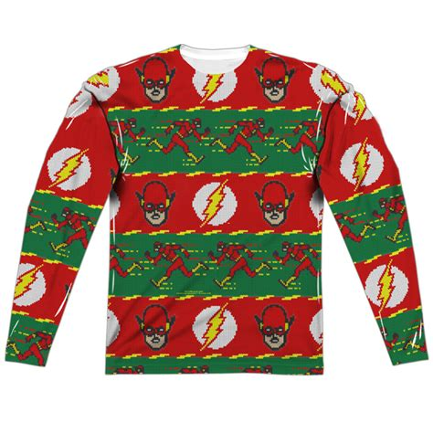 printable ugly christmas sweater the flash ugly christmas sweater print long sleeve tee