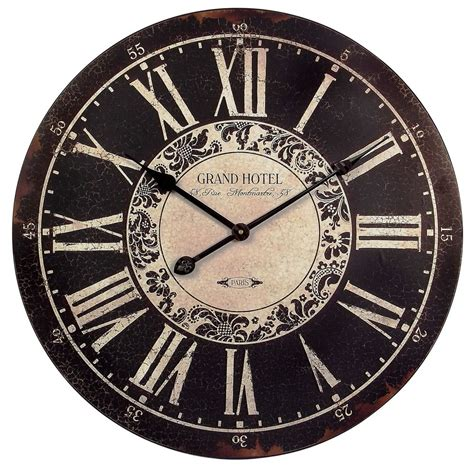 country clock 24 quot country black white distressed vintage
