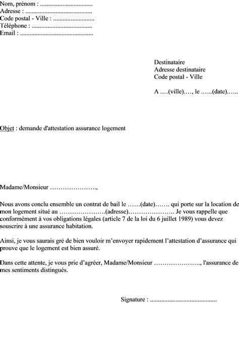 Exemple De Lettre Locataire modele lettre attestation assurance locataire