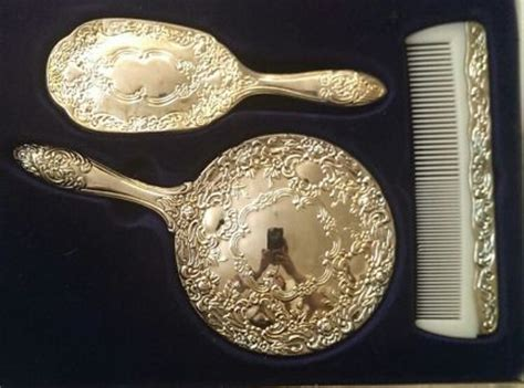 Silver Plated Dresser Set by Free Sterling Silver Plated 3 Dresser Set