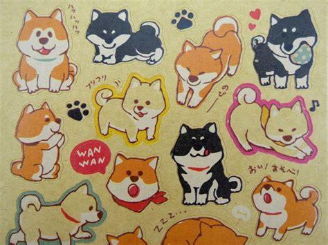 kawaii japanese shiba inu kraft paper stickers cute