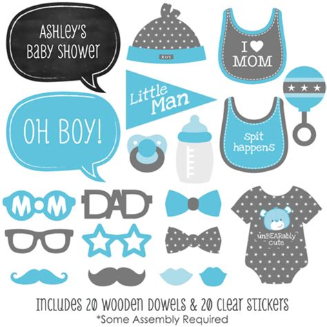 boy baby shower photo booth props kit 20 props