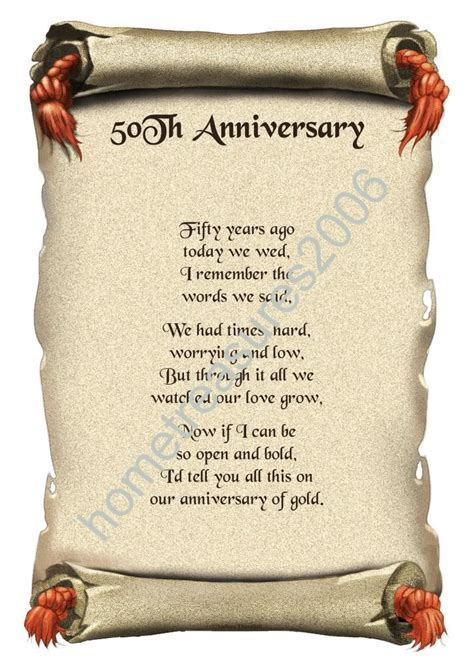 50th wedding anniversary poems 7 best images of 50th anniversary poems for parents