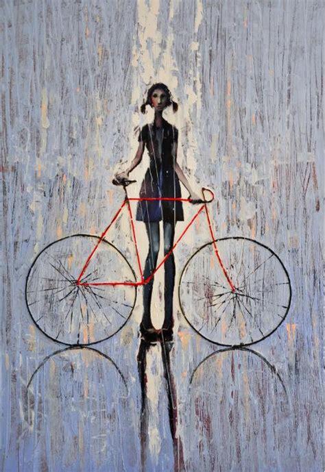raincoat for bike riders amelia 2009 original oil painting print on canvas