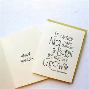 harry potter quote birthday card dumbledore quote by