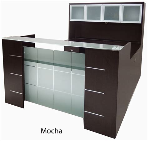 u shaped glass front reception desk w hutch