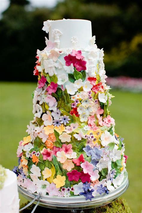 Secret Garden Cake Decorated With The Beautiful Ribbon Flower Garden Wedding