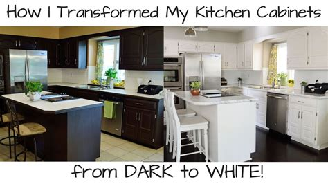 How To Paint Kitchen Cabinets From Dark To White Youtube How To Paint My Kitchen Cabinets White