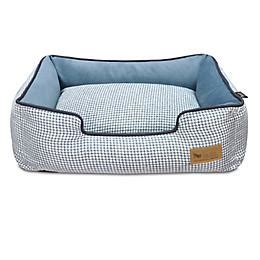 play dog beds play houndstooth blue lounge dog bed statelinetack com