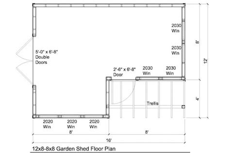 shed floor plan 12x8 8x8 garden shed plans with trellis
