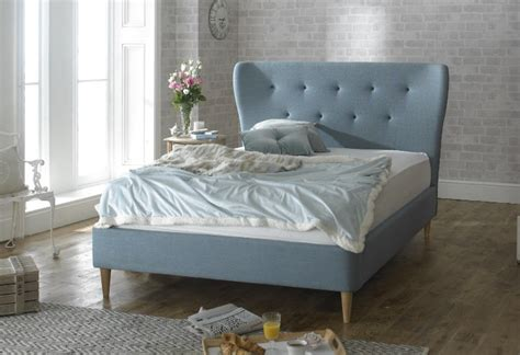 blue beds limelight aurora 4ft6 double duck egg blue fabric bed